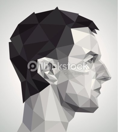 Profile Of Young Man In Origami Style Vector Art