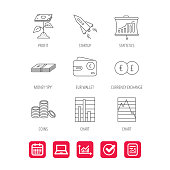 Profit investment, cash money and startup rocket icons. Wallet, currency exchange and euro linear signs. Chart, coins and statistics icons. Report document, Graph chart and Calendar signs. Vector
