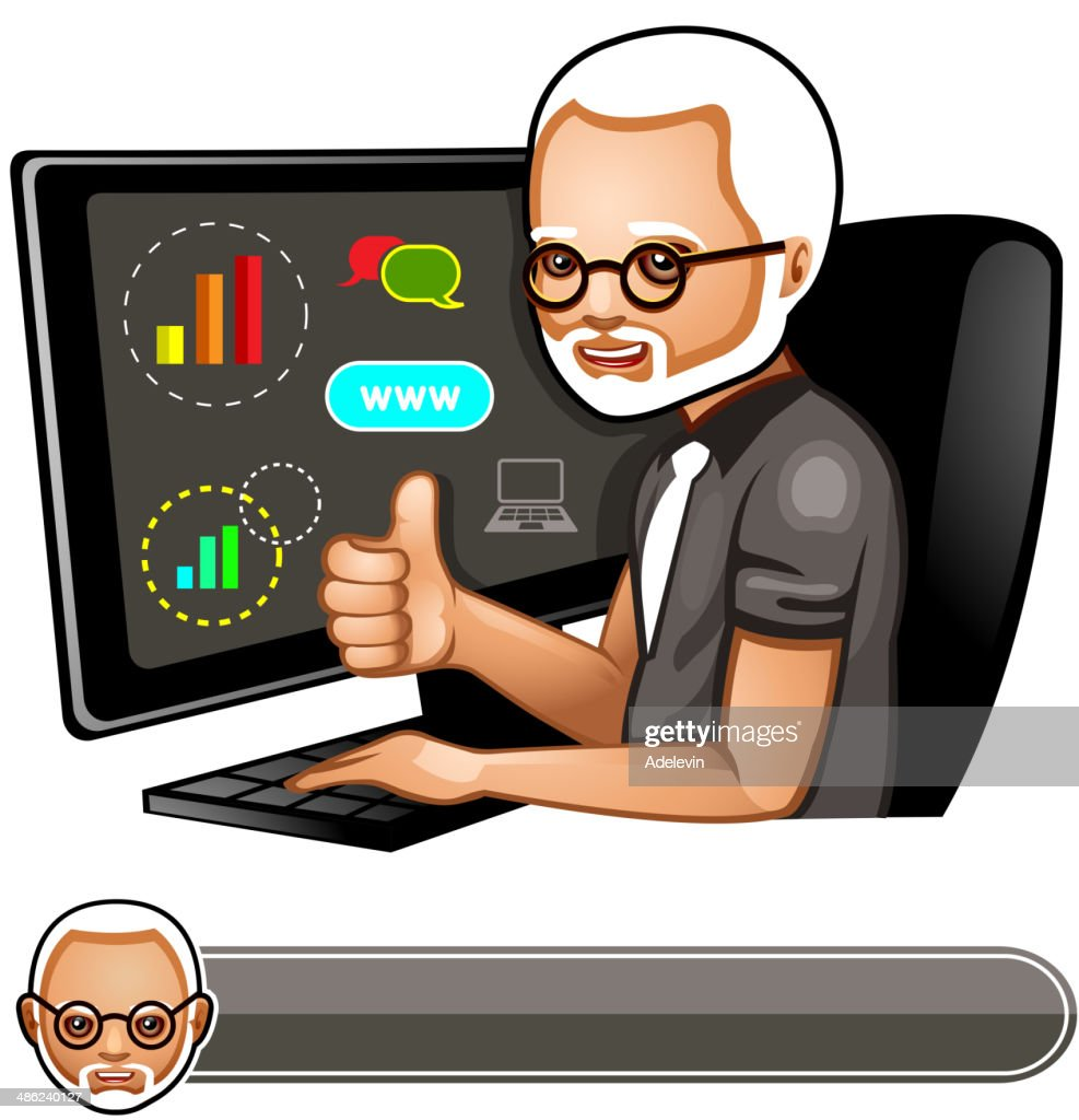 Middle-aged programmer : Vector Art