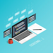 programmer coding binary computer,programmer skill isometric flat vector