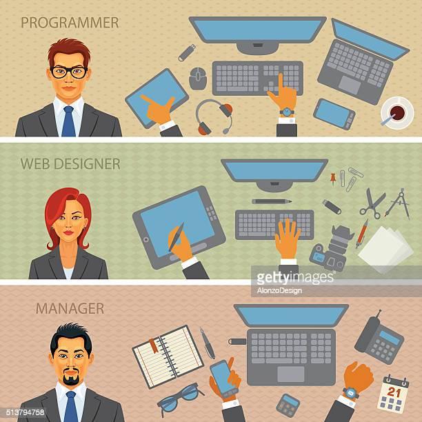 Programmer, Web designer, Manager - Desks