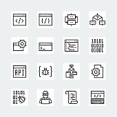 Programming and coding vector icon set in thin line style