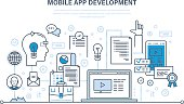 Programming and coding online,web courses, internet and web design, mobile and desktop app development process. Illustration thin line design of vector doodles, infographics elements.