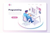 Programming concept, web engineer at work, vector image. Programmer programming web site landing page template. Isometric people, vector design.
