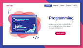 Flat design concept on programming theme. Vector illustration mock-up for website and mobile website. Landing page template.