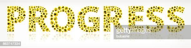 Progress  Honey Bee Vector Yellow Button Pattern