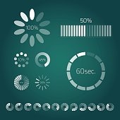 Progress loading bar. Set of indicators. Download progress, web design template, interface upload. Vector illustration.