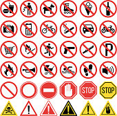 Prohibition signs set vector illustration. Warning danger symbol prohibiting signs. Forbidden safety information prohibiting signs. Protection signs no pet warning information sign.
