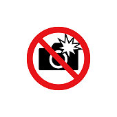 Prohibition sign (pictogram) /Do not use flash photographs
