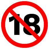UNDER EIGHTEEN prohibition sign in crossed out red circle. Vector icon