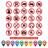 Prohibition signs set safety on white background. Vector illustration