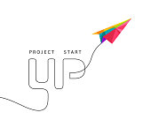 Project start up concept with multicolor paper plane made in polygon design on white background