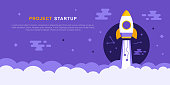 Project Startup Concept With Rocket ship. Successful launch. Flat Style Business Vector Illustration
