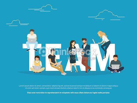 Project teamwork concept illustration of business people working together as