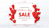 Beautiful Background with Realistic Red Fabric Hearts and Confetti on Wooden Texture. Vector Illustration with Seasonal Offer.