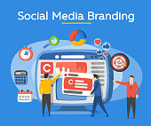 Analytics for social media marketing, management and optimization. Advertising and promotion process. Vector illustration
