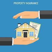 property Insurance concept with Flat Icons House, hands and Policy. isolated vector illustration