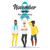 Vector flat style prostate cancer awareness month design poster, banner or card. Concept for annual event with mustaches and beard. Blue ribbon. Silhouettes man characters.
