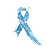 Prostate Cancer Awareness Ribbon. Watercolor blue ribbon, prostate cancer awareness symbol, isolated on white. Vector illustration