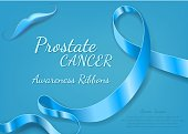 Prostate cancer blue ribbon awareness. Minimal abstract vector illustration. The Light blue Awareness Ribbons of Prostate cancer