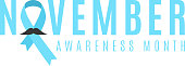 Prostate cancer ribbon awareness. Man's mustache. Fighting cancer. Blue ribbon. The month of November. Vector
