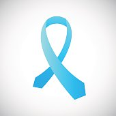 Prostate cancer tie ribbon awareness symbol. Light blue solidarity ribbon.