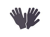 Protection gardening gloves flat icon. Hand safety gloves sign. Vector illustration