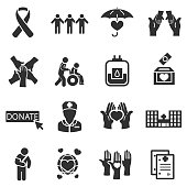 Medical care and donation, simple symbols collection.