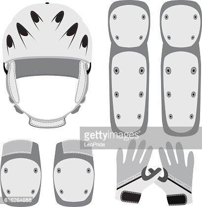 Protective gear for skateboarding, roller skating, bike in flat style. : Vector Art