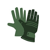 Green protective gloves. Vector flat icon illustration, isolated on white background.
