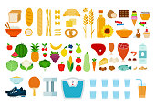 Protein, carbohydrate products, vegetables, fruits, products containing sugar and sports accessories flat material design isolated on white