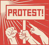 protest design - lots of furious people (man holding transparent, demonstrations)