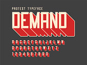Protest display font design, alphabet, character set, letters and numbers. Swatch color control.
