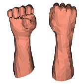 Protest fist for low poly illustrations with triangular polygons