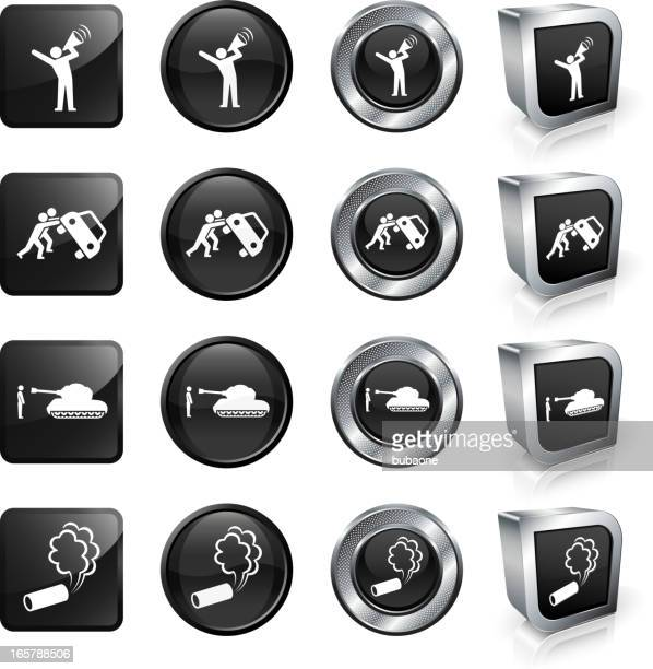 Protest royalty free vector button set