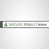 Modern Styled Flat Secure Computing Concept, Browser Address Bar with Padlock Icon Showing Secure Connection - Design Template - Illustration in Editable Vector Format