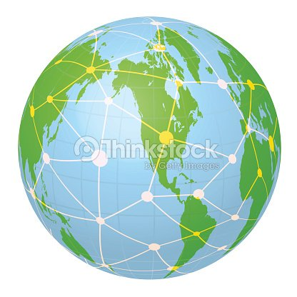 Pseudo Earth That Contains The Whole World Map And Network Vector ...