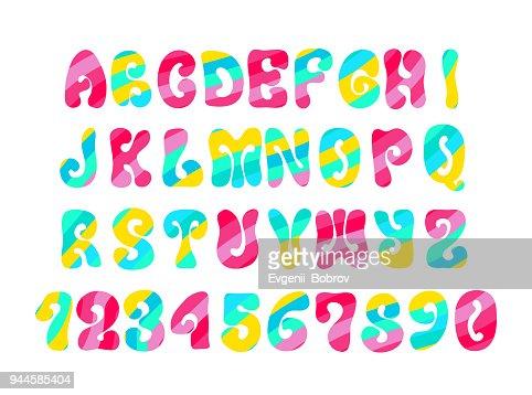 Alphabet Psychédélique polices psychédélique avec motif coloré alphabet de hippie vintage