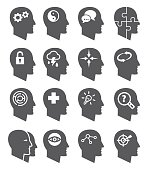 Psychology vector icons set on white background