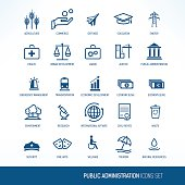 Public administration icons set, one color