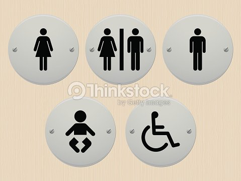 Public Bathroom Signs For Men And Women Babies And Handicap Vector - Public bathroom signs