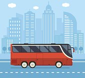 Public transport illustration with red city bus driving on downtown road. Vector concept background or banner.