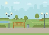 Public park in the city. Summer landscape background. Vector illustration.
