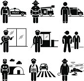A set of pictograms representing the jobs and careers in public safety and security. They are policeman, fireman, EMT (Emergency Medical Technician), security guard, watchman, bodyguard, army, traffic