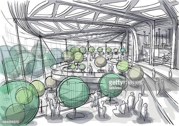 Public space interior sketch