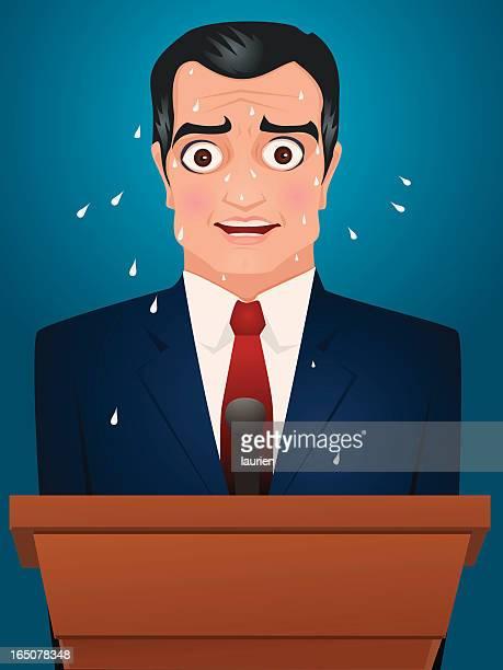 Public speaker under pressure.