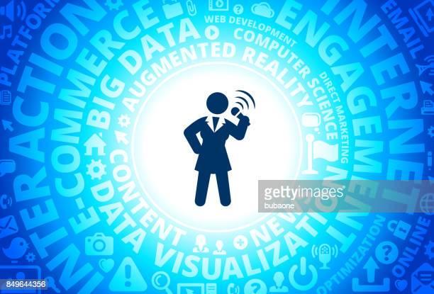 Public Speaking Icon on Internet Modern Technology Words Background