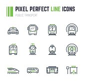 Set of 12 public transport thin line style icons. Taxi and bus. Electrical transport, tram, subway, train. Public bus stop sign. Speed monorail train and locomotive. Old trolleybus.
