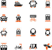 public transport web icons for user interface design
