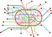 Subway and public transportation map of a large city, fictional vector art,isolated on white